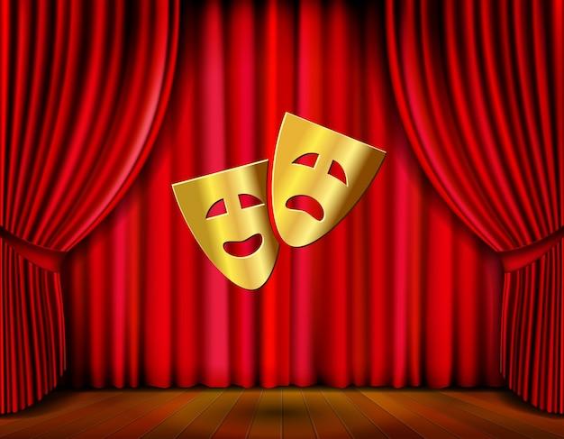 Palco de teatro com máscaras douradas e ilustração vetorial de cortina vermelha