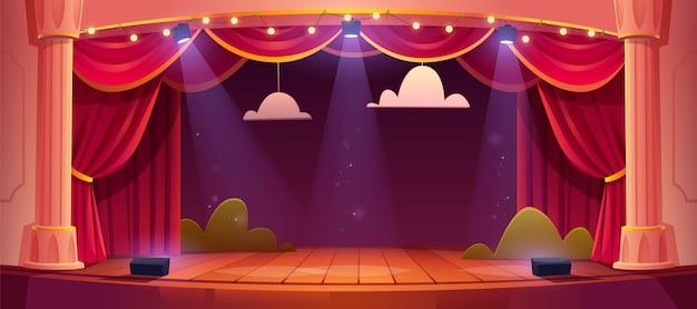 Palco de teatro dos desenhos animados com cortinas vermelhas
