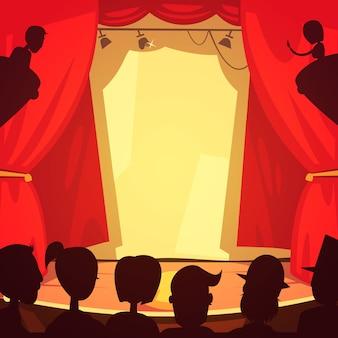 Palco de teatro e ilustração pública dos desenhos animados