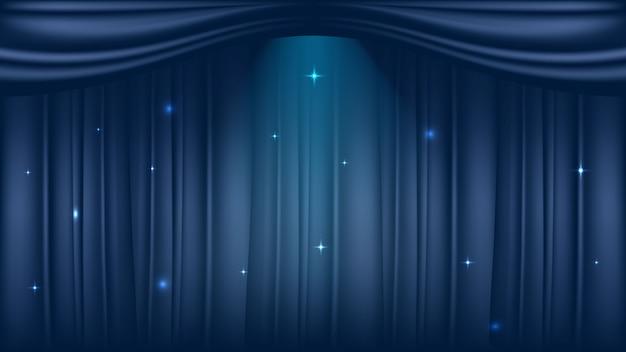 Palco de teatro em fundo de cortinas azuis luxuosas