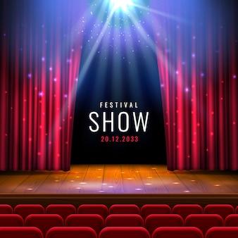 Palco de teatro em madeira com cortina vermelha, holofote, poltronas.