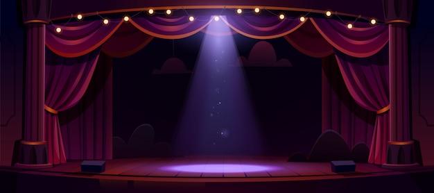 Palco de teatro escuro com cortinas vermelhas e holofotes