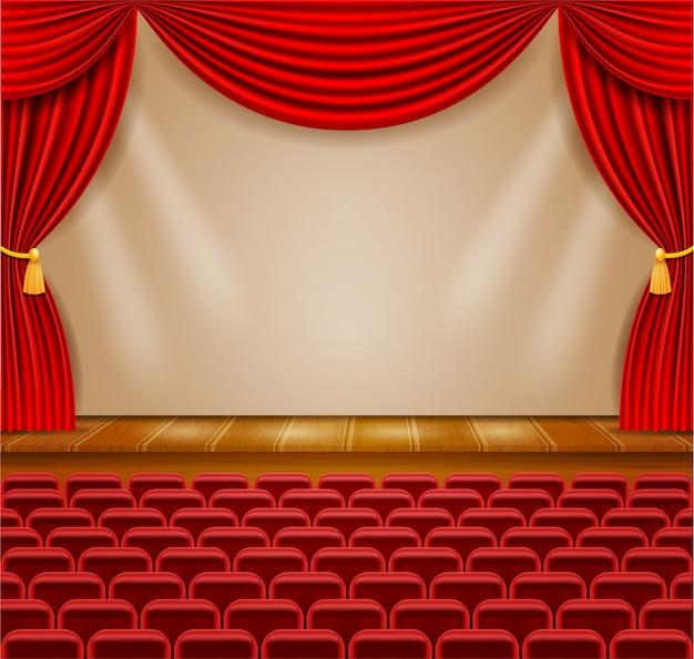 Palco de teatro no corredor com cortinas e poltronas para ilustração do público
