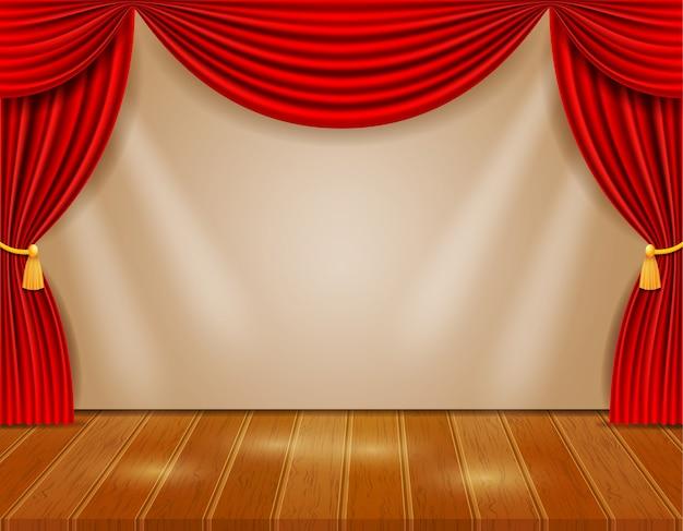 Palco de teatro no corredor com cortinas vermelhas