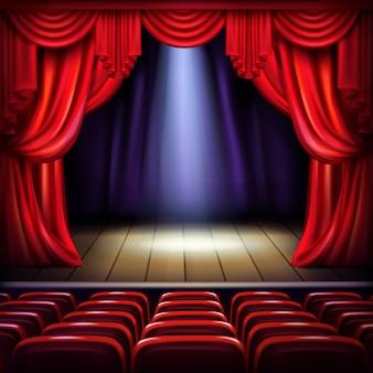 Palco de teatro ou concertos com cortinas vermelhas abertas, ponto de feixe de holofotes no centro