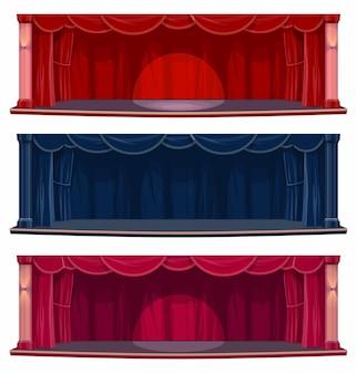 Palco de teatro ou sala de concertos com cortinas e cortinas
