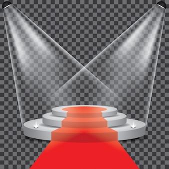 Palco do pódio com vetor de holofotes transparente