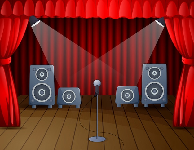Palco festivo com microfone e alto-falante
