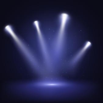 Palco iluminado com luzes cênicas