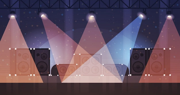 Palco livre com efeitos de luz discoteca clube de dança raios laser equipamento musical alto-falante multimídia plano horizontal