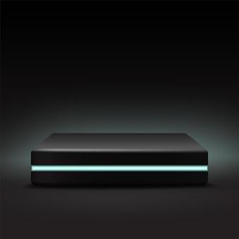 Palco modelo quadrado preto com luz de néon.