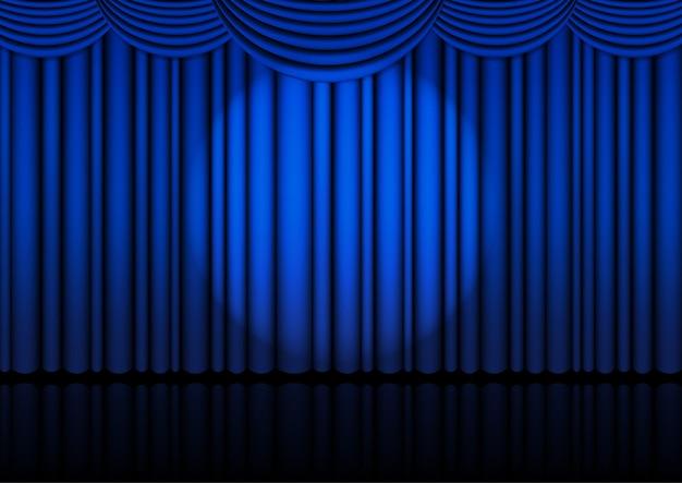 Palco opera realista interno com cortina azul e holofote