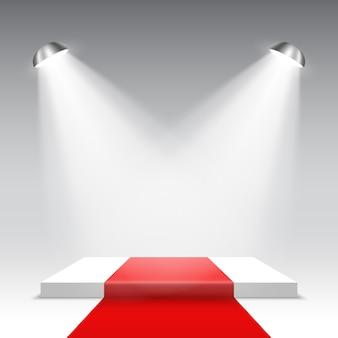 Palco para cerimônia de premiação com holofotes. pódio quadrado branco com tapete vermelho. pedestal. .