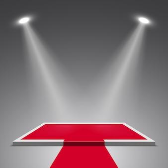 Palco para cerimônia de premiação e holofotes. pódio branco e vermelho. pedestal. cena. ilustração.