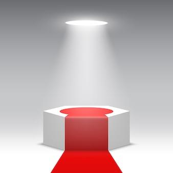 Palco para cerimônia de premiação. pódio branco com tapete vermelho. pedestal. cena hexagonal. ilustração.
