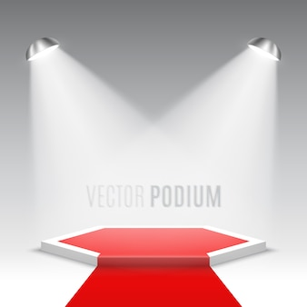 Palco para cerimônia de premiação. pódio branco com tapete vermelho. pedestal. cena hexagonal. .