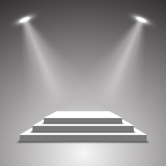 Palco para cerimônia de premiação. pódio branco. pedestal. cena. ilustração.