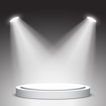 Palco para cerimônia de premiação. pódio branco. pedestal com holofotes. cena. .