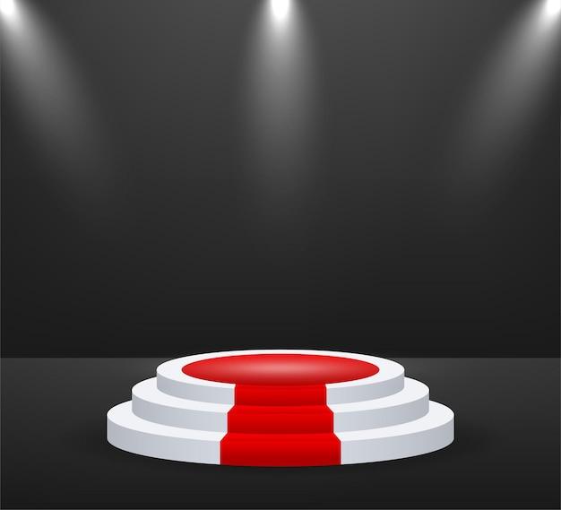 Palco para cerimônia de premiação. pódio com tapete vermelho. pedestal. holofote. ilustração vetorial.