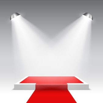 Palco para cerimônia de premiação. pódio quadrado branco com tapete vermelho. pedestal. .