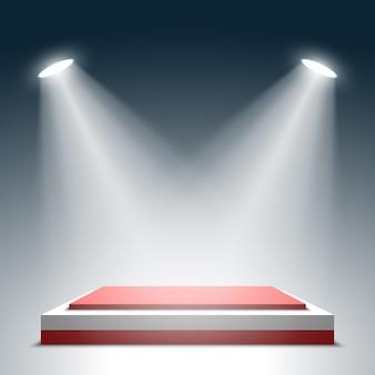 Palco para cerimônia de premiação. pódio quadrado vermelho e branco. pedestal. cena. holofote. .