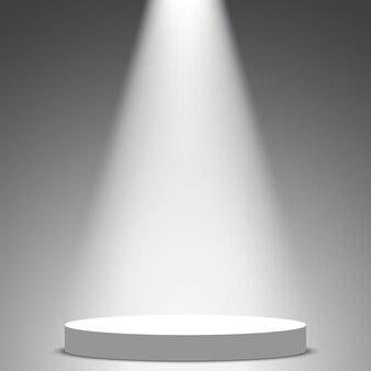 Palco para cerimônia de premiação. pódio redondo branco. pedestal. cena. holofote. .