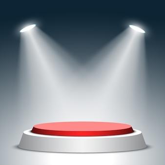Palco para cerimônia de premiação. pódio redondo vermelho e branco com holofotes. pedestal. .