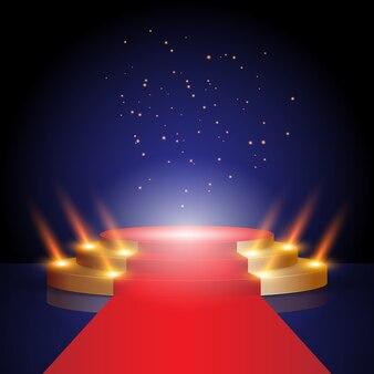 Palco para cerimônia de premiação tapete vermelho