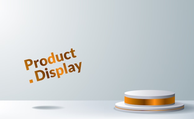 Palco pedestal moderno e elegante em cilindro para colocação de produtos para publicidade