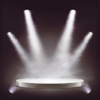 Palco, pódio redondo vazio iluminado por holofotes