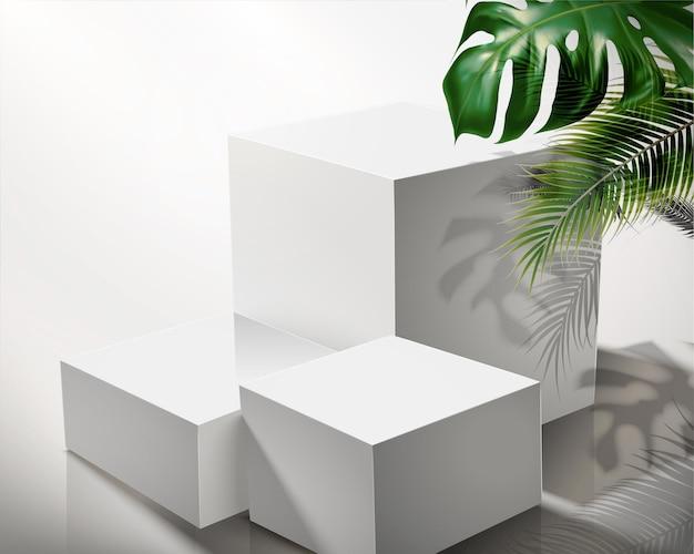 Palco quadrado branco moderno com folhas tropicais em ilustração 3d