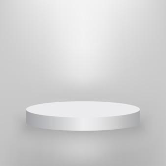 Palco redondo, pódio de apresentação do produto iluminado com luz, palco branco