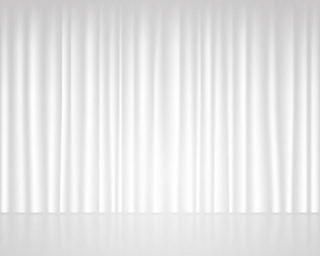 Palco vazio branco com modelo de casamento de cortina