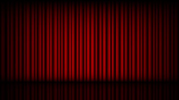Palco vazio com cortina de teatro vermelho fechado