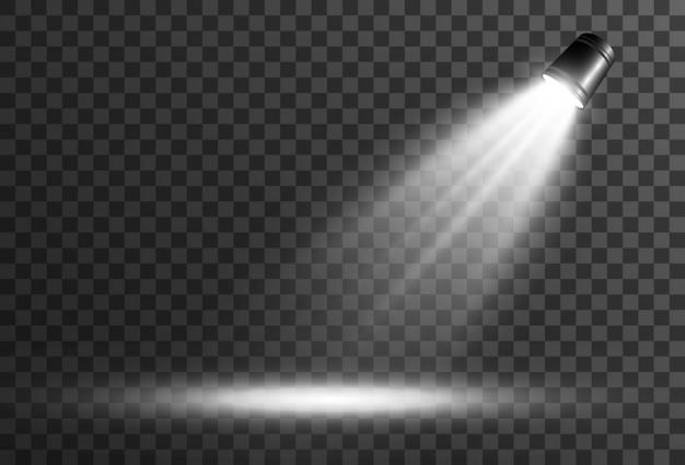 Palco vazio com holofotes. dispositivos de iluminação em um fundo transparente.