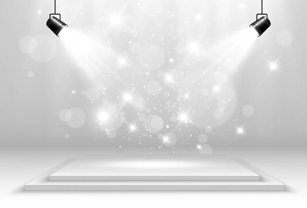 Palco vazio com holofotes dispositivos de iluminação transparentes