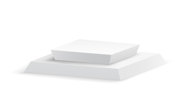 Palco vazio quadrado e modelo 3d de escadas em fundo branco