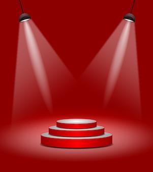 Palco vermelho abstrato iluminação moderna ou pódio