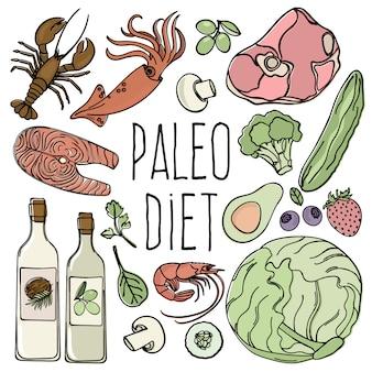 Paleo menu de dieta de carboidrato de alimentos saudáveis