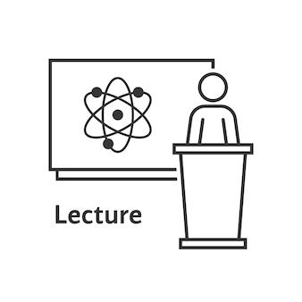 Palestra científica de linha fina. conceito de e-learning, webinar, tutor à distância, treinador, líder, exemplo simples átomo, conhecimento. ilustração em vetor design de logotipo moderno tendência estilo plano no fundo branco
