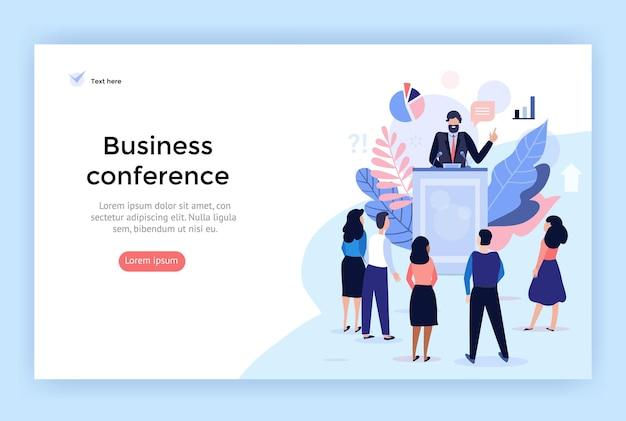 Palestrante na ilustração de conceito de conferência de negócios perfeita para aplicativo móvel de banner de web design