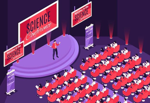 Palestrante se apresentando no palco de uma conferência de ciências em frente ao público, ilustração isométrica em 3d