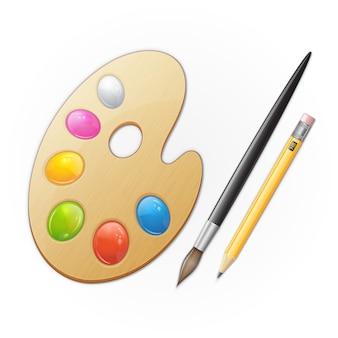 Paleta de artista de madeira, amarelo pensil e pincel preto