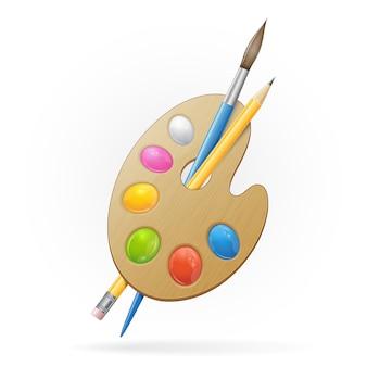 Paleta de artista de madeira, pensil amarelo e pincel azul