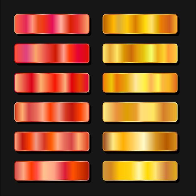 Paleta de cores de metal dourado vibrante. textura de aço platina