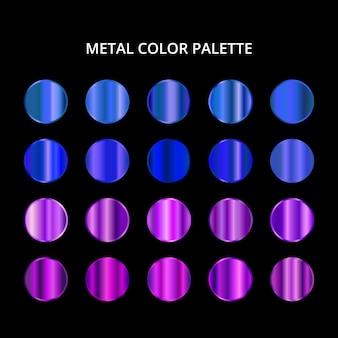 Paleta de cores de metal. textura de aço roxo azul