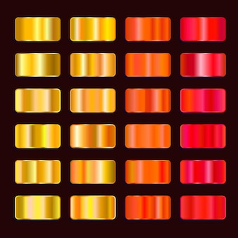 Paleta de cores gradiente de efeito de aço colorido. conjunto de textura de metal amarelo laranja vermelho ouro