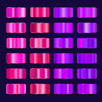 Paleta de cores gradiente de efeito de aço colorido. conjunto de textura de metal rosa roxo