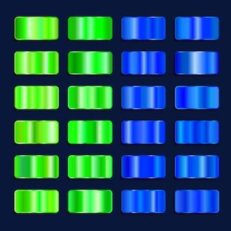 Paleta de cores gradiente de efeito de aço colorido. conjunto de textura de metal verde azul