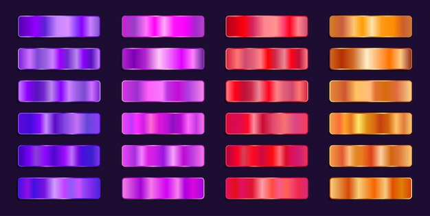Paleta de cores gradiente rosa vermelho laranja metálico aço